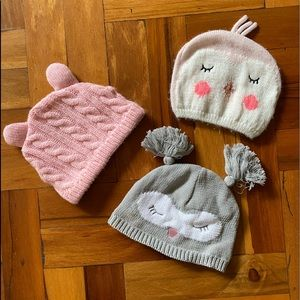 Three pack of adorable baby beanies, owl theme